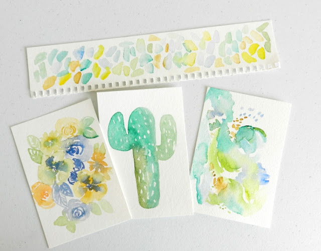 Watercolor Cactus and Abstracts in Yellows and Greens by Elise Engh