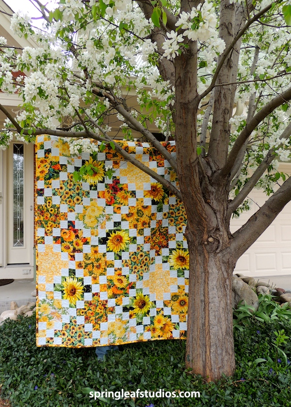 sunlfower Irish Chain quilt by Springleaf Studios