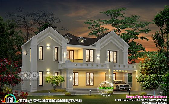 2850 sq-ft awesome looking Colonial house in Kerala