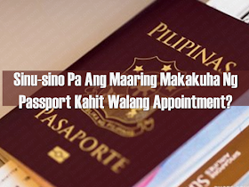 Filipinos who want to apply for a passport or renew their passports can do it online by making an appointment.  Since walk-ins applicants are no longer allowed, the first step is to go to www.passport.gov.ph to secure a slot for an appointment schedule. The website is on a first-come, first-serve basis and tends to be already fully booked for several months back. This is why booking for a slot would allow you to be in two months ahead of the application. Overseas Filipino workers (OFW) are among the list of those who can apply for passport renewal without an appointment through the DFA Consular Office Courtesy Lane.  Advertisement         Sponsored Links     Courtesy Lane Facility can be availed any time without the need for an online appointment. Applicants have the option to choose regular or expedited processing of their passport application*. Those who are eligible to avail such facility are as follows:  —Senior citizens (60 years and over) plus one (1) travel companion (family member)    —Minors seven (7) years old and below (with their parents and minor siblings)    —People with disabilities (PWDs) with PWD ID or visible disability plus one (1) travel companion (family member)     —Parents (with Solo Parent ID) and their minor children     —Visibly pregnant women or with a medical certificate     —OFW with sufficient proof of status such as iDOLE Card, valid employment contract, work visa   In this regard, the person accompanying the abovementioned eligible people can also apply for passport processing without the need for making an online appointment. So If you are going to DFA Consular Office accompanying a PWD, a minor 7 years of age and below, a senior citizen, or a pregnant woman and you also need to renew or apply for a new passport, you can also do it using the Courtesy Lane.    *Important Reminders All Courtesy Lane applications and facilities including through accommodation or referrals will be treated as expedited applications and should pay the expe