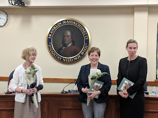 Oak St kindergarten teacher Dolores Sherlock flanked by School Committee Chair Ann Bergen and Superintendent Sara Ahern