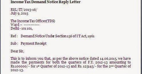 Tds Demand Notice Reply Letter Format