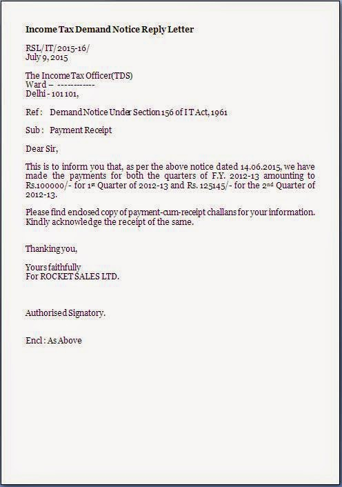 Tds Demand Notice Reply Letter Format Sample Template Example Of