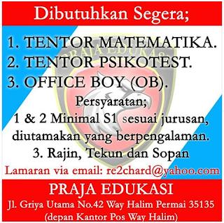 Loker Lampung terbaru di PRAJA EDUKASI Bandar Lampung Terbaru Juli 2016