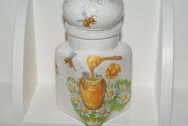 słoik na miód , pszczoły decoupage , miodowy słoik , słoiczek ,