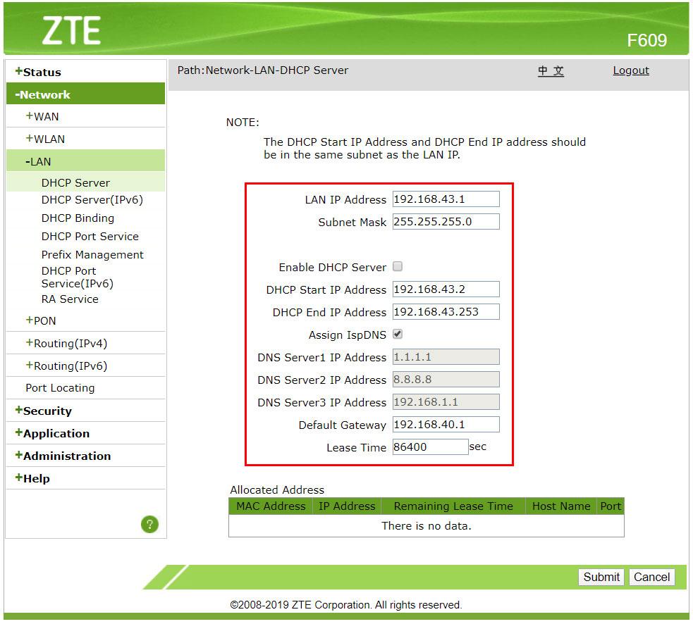 Setup DHCP Server ZTE F609