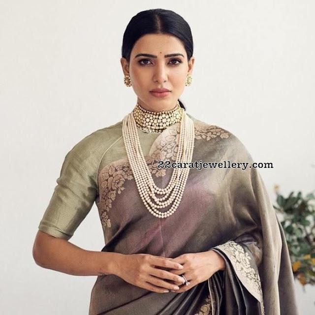 Samantha in Pearls Haram Kundan Choker