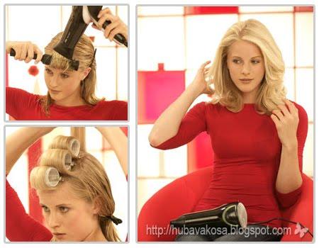 Обем на косата със сешоар и ролки