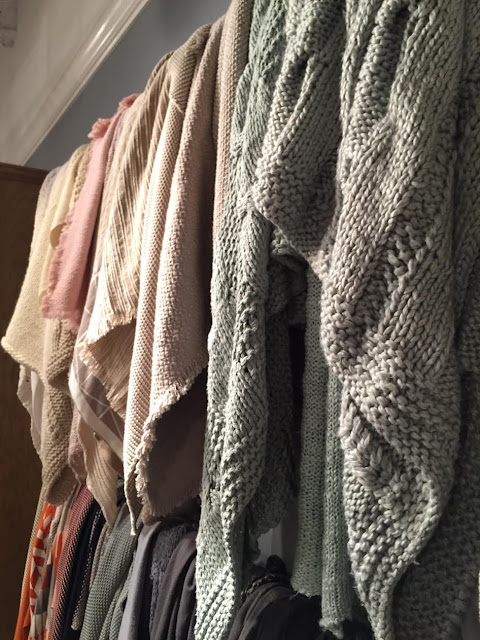 Raw edge blankets and chunky knit