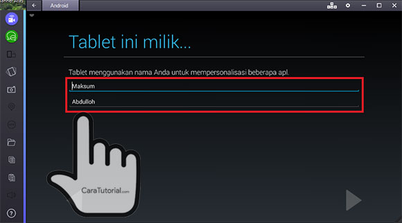 Tablet ini milik... beri nama Anda di akun google BlueStacks