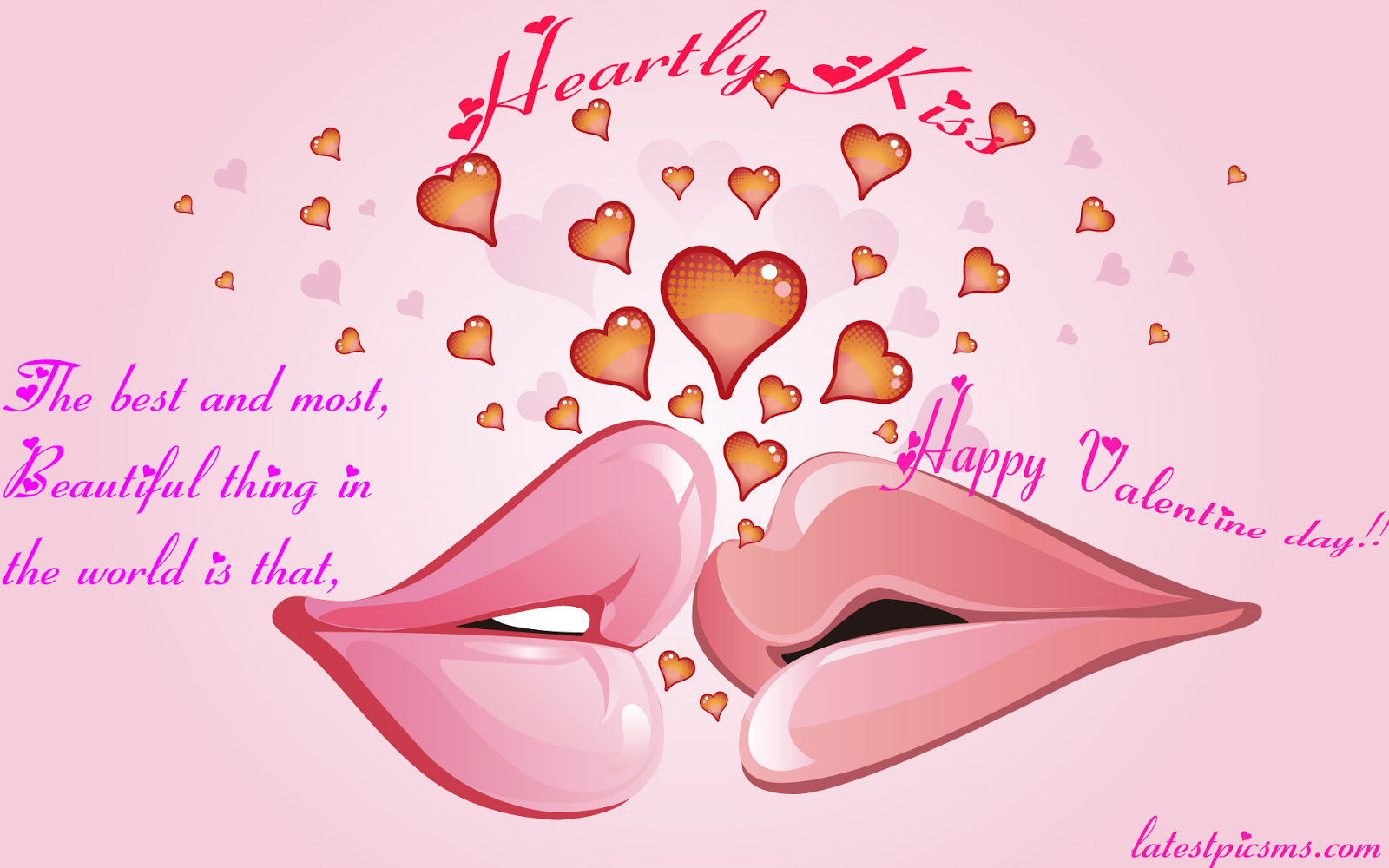 Valentine%25E2%2580%2599s Day 3D Heartly Kiss HD Wallpaper - Amazing Valentine Heart Kiss Messages with HD Photos for Whatsapp & Fb