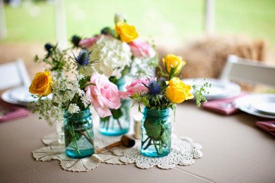 Vintage wedding Mason Jar Centerpieces flower arrangements