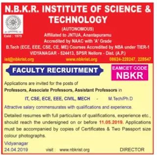 NBKR Assistant Professor Jobs 2019 Recruitment N.B.K.R Institute of Science and Technology, Nellore