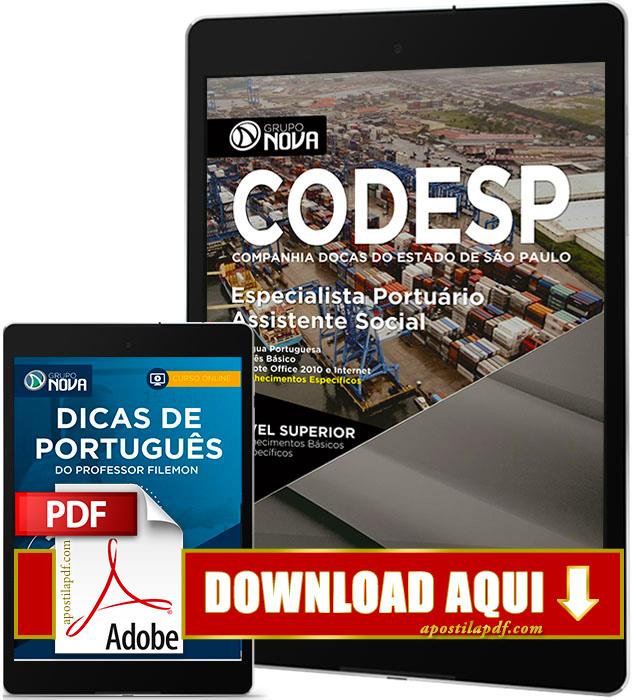 Apostila CODESP 2017 PDF Download Assistente Social Grátis Curso Online