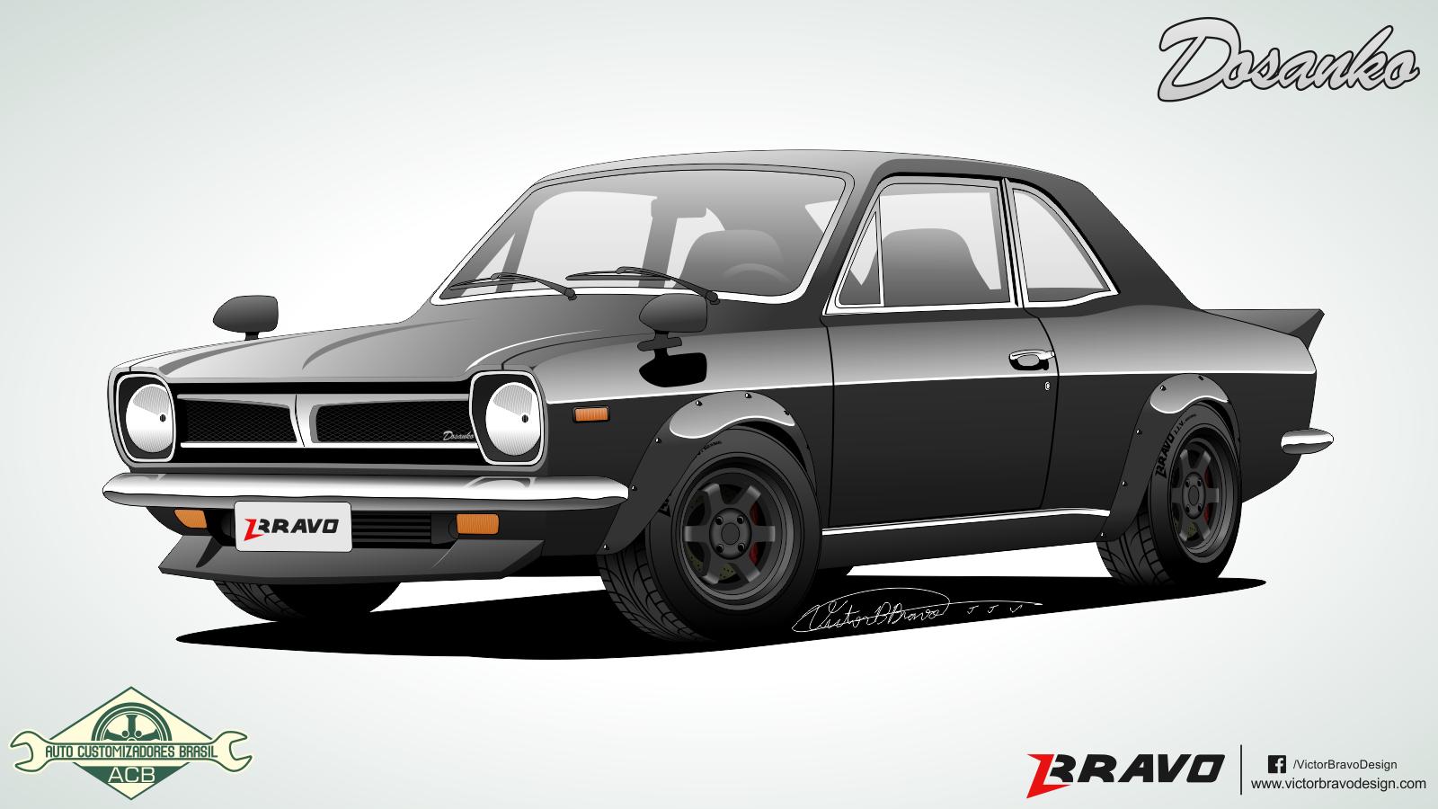"""Imagem mostrando o desenho da frente do Ford Corcel """"Dosanko"""""""