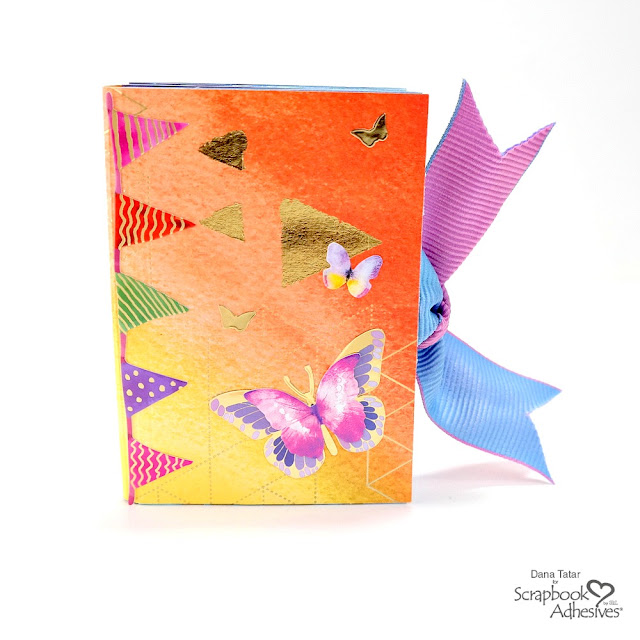 Colorful Folded Pocket Mini Book with Gold Foil Accents and Butterflies