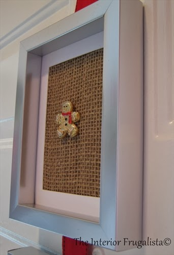 Attached an old Gingerbread Man Brooch to burlap and put inside a frame