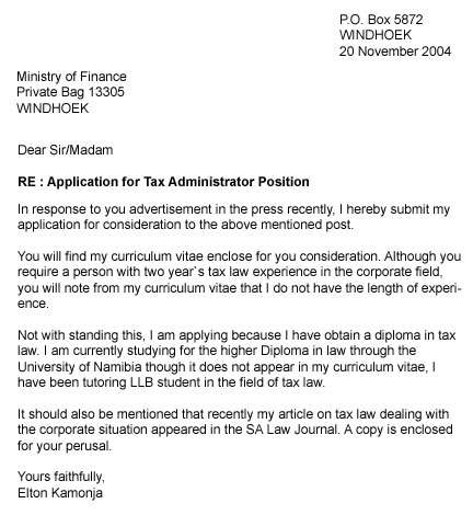 How to write an application letter for job