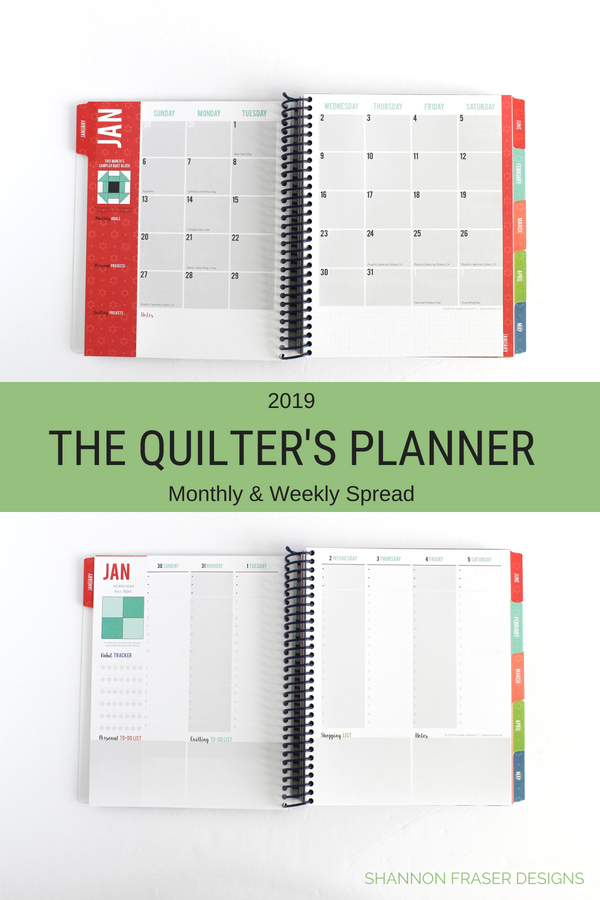 Monthly & Weekly Spread | The 2019 Quilter's Planner Review + Giveaway | Shannon Fraser Designs