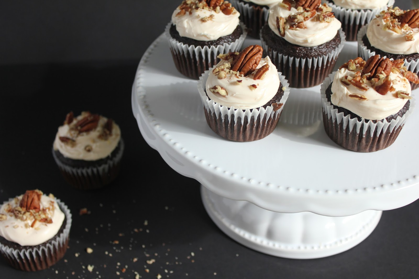 Holiday Cookbook - Thanksgiving Dessert Recipe: Dark Chocolate Bourbon Cupcakes with Butter Pecan Frosting