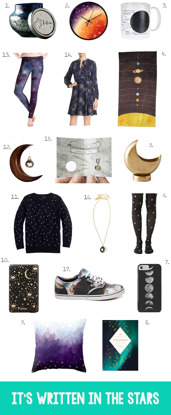 Interstellar, space, moon, sun, constellations, stars, nebulas, fashion trend, accessories, shoes, clothing, home decor