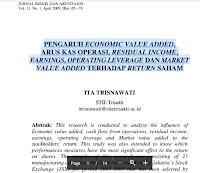 Contoh Jurnal Bisnis Dan Akuntansi Pdf Download – Pengaruh Economic Value Added, Arus Kas Operasi, Residual Income, Earnings, Operating Leverage dan Market, Value Added Terhadap Return Saham