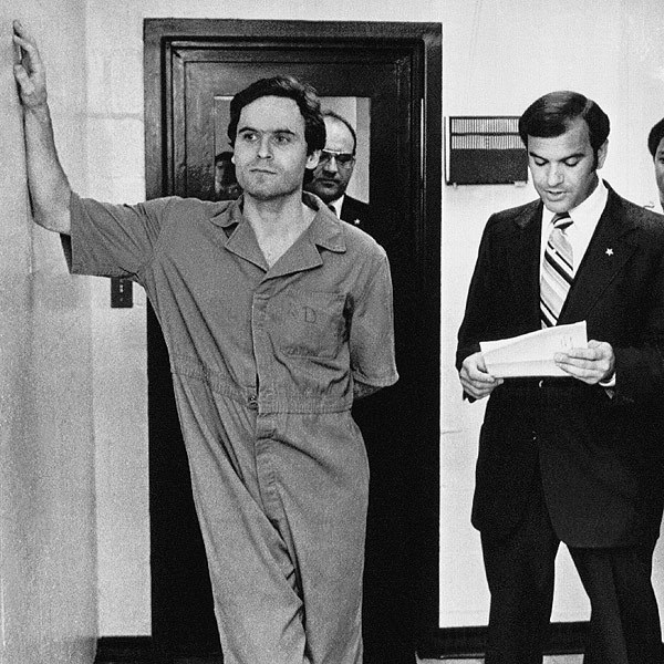 Ted Bundy in 1978 as Sheriff Ken Katsaris reads an indictment handed down by the Leon County, Florida grand jury AP PHOTO