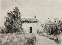 Study work of landscape created using willow charcoal on Canson c a grain paper. By Manju Panchal