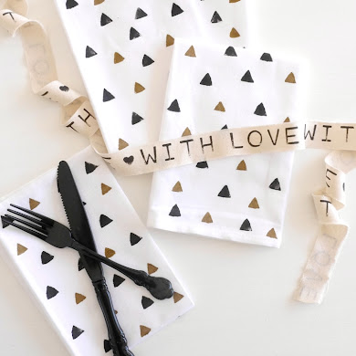 DIY Geometric Hand Stamped Party Napkins