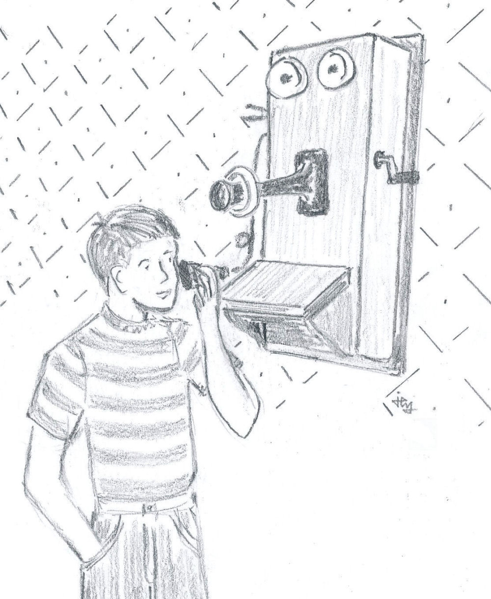 sketch of a boy talking on an old fashioned wall telephone from the book The Hitchhiker