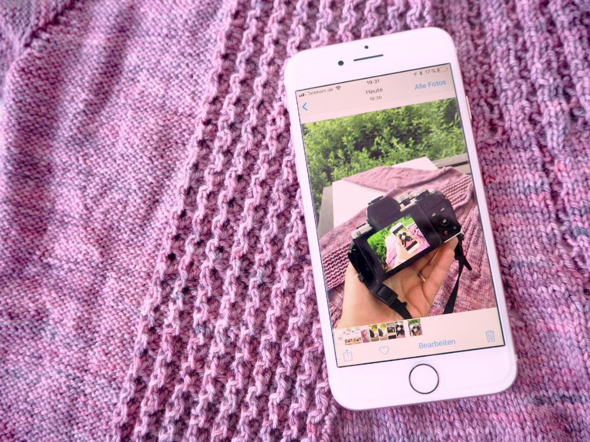 Strickstücke fotografieren um an Teststricken teilzunehmen - iphone 6
