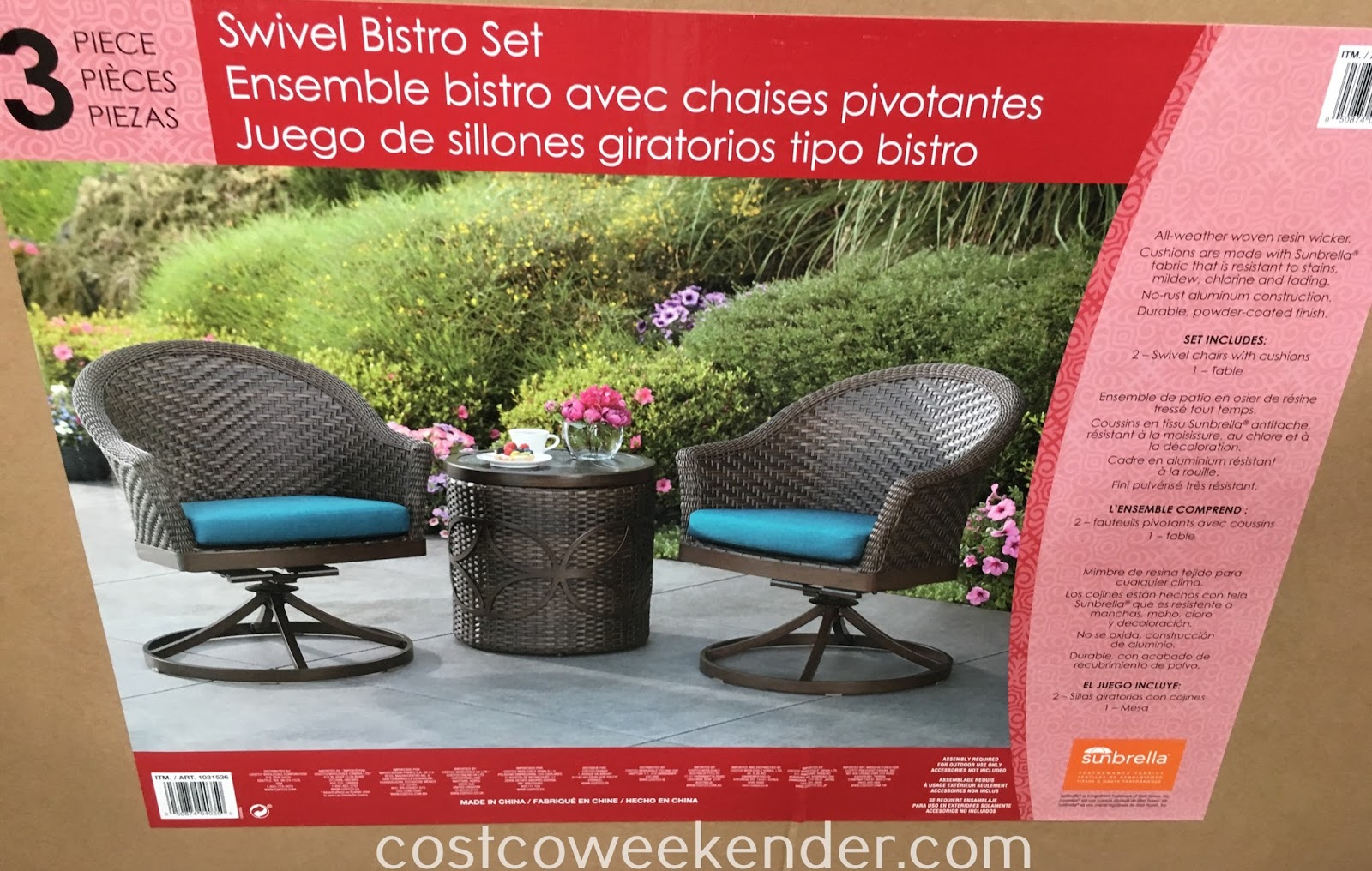 Costco 1031536 - Agio International 3-piece Swivel Bistro Set: great for any backyard or patio