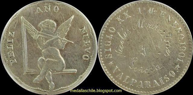 Medalla Feliz Año Nuevo 1901