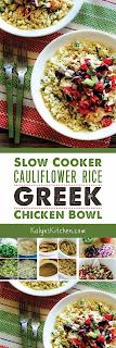 Slow Cooker Cauliflower Rice Greek Chicken Bowl found on KalynsKitchen.com
