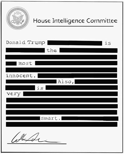 Nunes Memo reads Donald Trump is the most innocent. Also is very smart