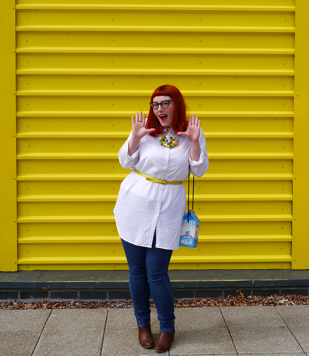 Style dby Helen, Scottish Blogger, red hair, ginger style, cat eye glasses, Dundee blogger, Dundee style, Monki shirt, simple white shirt, blue jeans style, topshop jean, yellow belt. skinny belt, belted shirt, milk bag, novelty bag, Skinnydip London bag, Zara brown boots, brown boots, chelsea boots, pom pom necklace, statement necklace, DIY necklace, handmade style, colourful style, colourful outfit, colourful street style, bright ootd