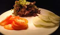 Lettuce slice of tomato and cucumber slice for veg club sandwich recipe