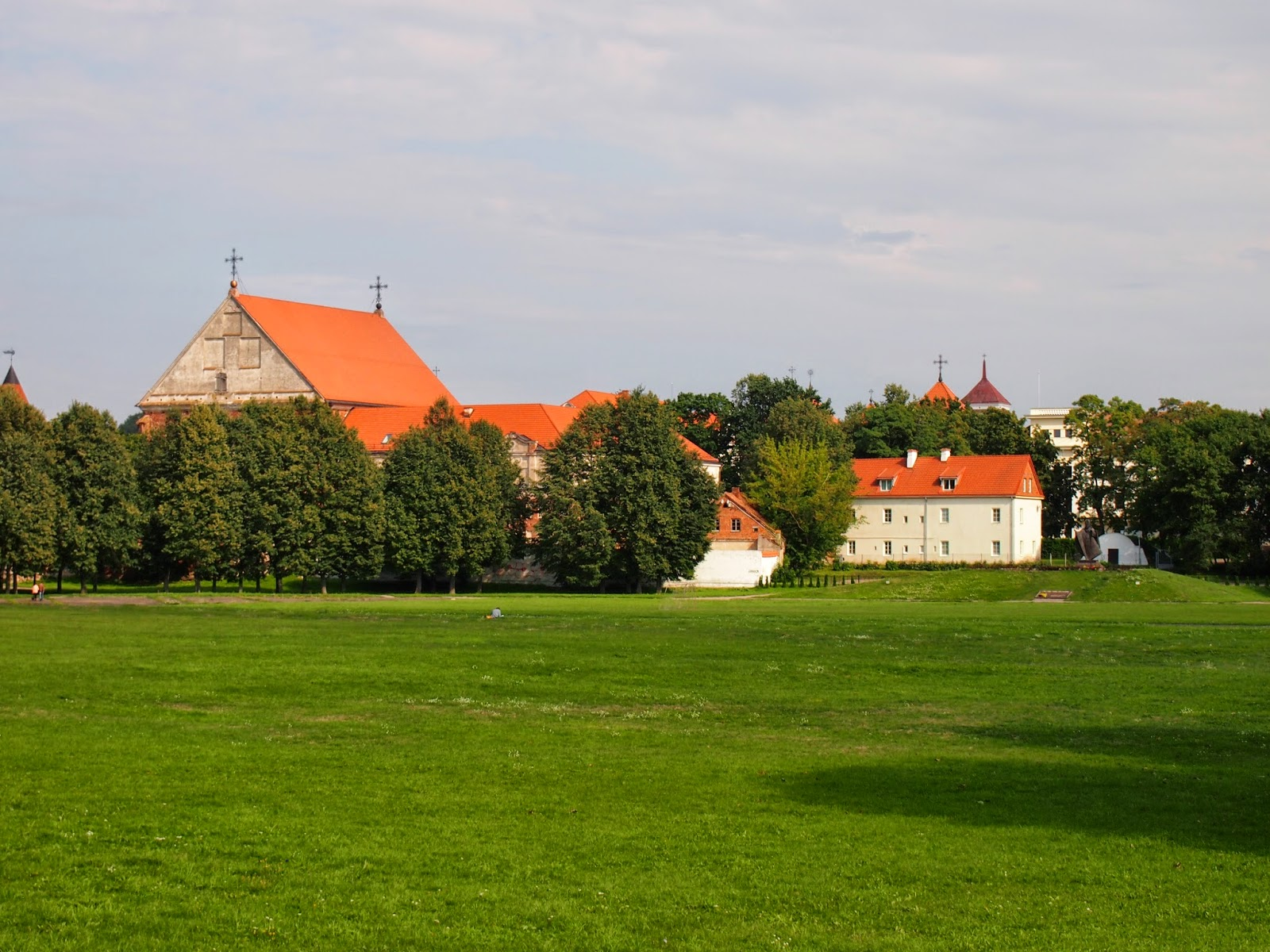 looking at the old town of Kaunas from the park