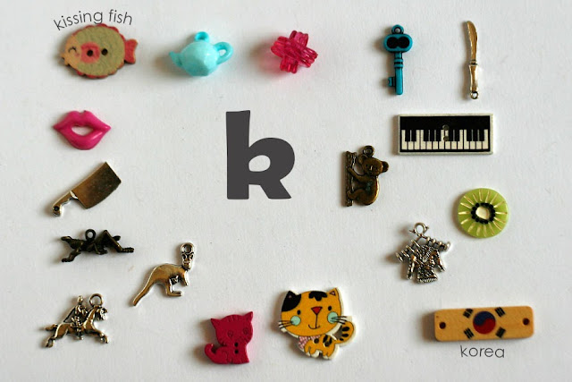 TomToy Individual letter K I spy trinkets for alphabet, Miniature abc objects, Montessori alphabet. Sorting toddler activities
