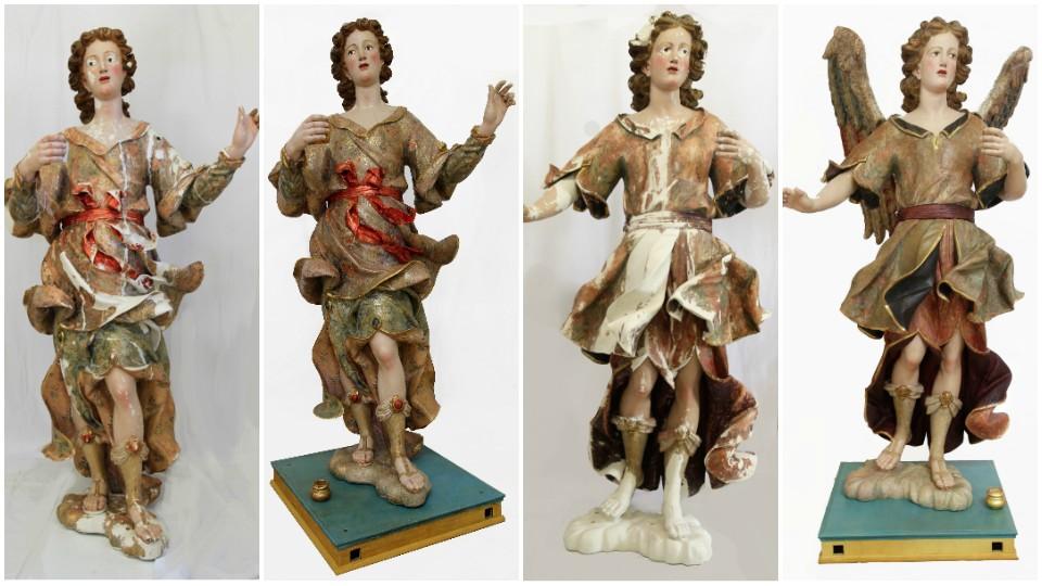 Antes y después de la restauración de las esculturas