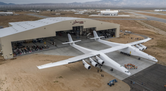 Stratolaunch, the world's largest airplane and built to launch rockets, takes first flight.