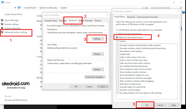 Advanced system settings > System Properties > Performance Options Windows 10