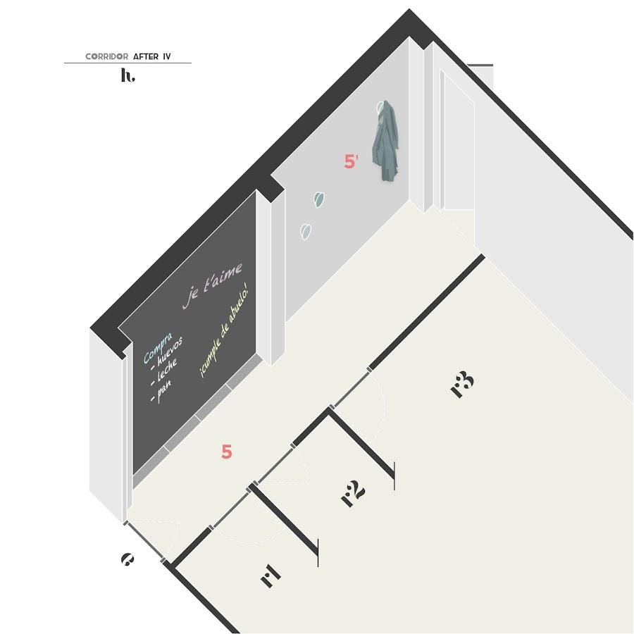 Pintar una de las paredes con pintura de pizarra reconvertirá el espacio y dará lugar a un espacio de encuentro para tu familia.