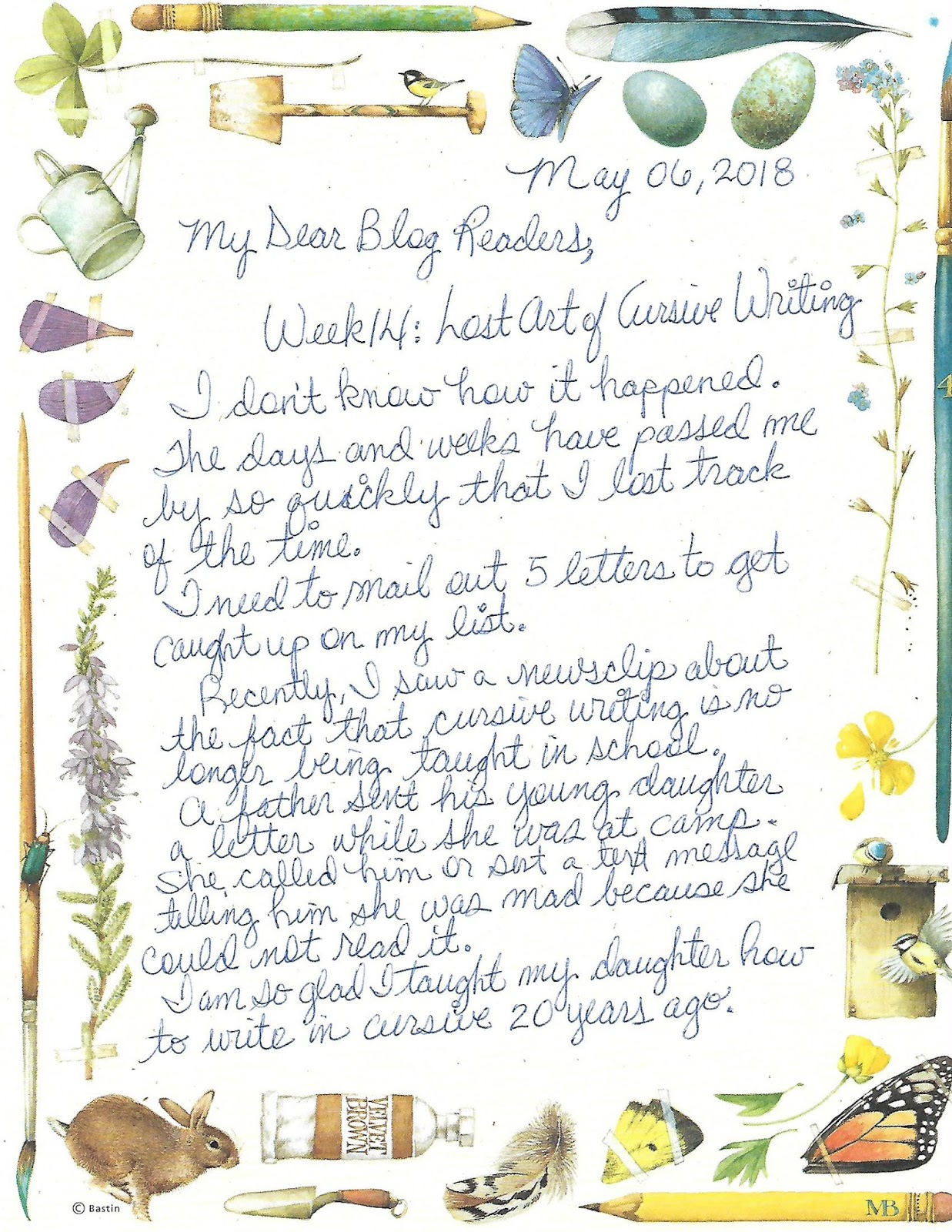 Markets Of Sunshine Week 14 Teach Cursive Writing At Home 52weeksnailmailchallenge