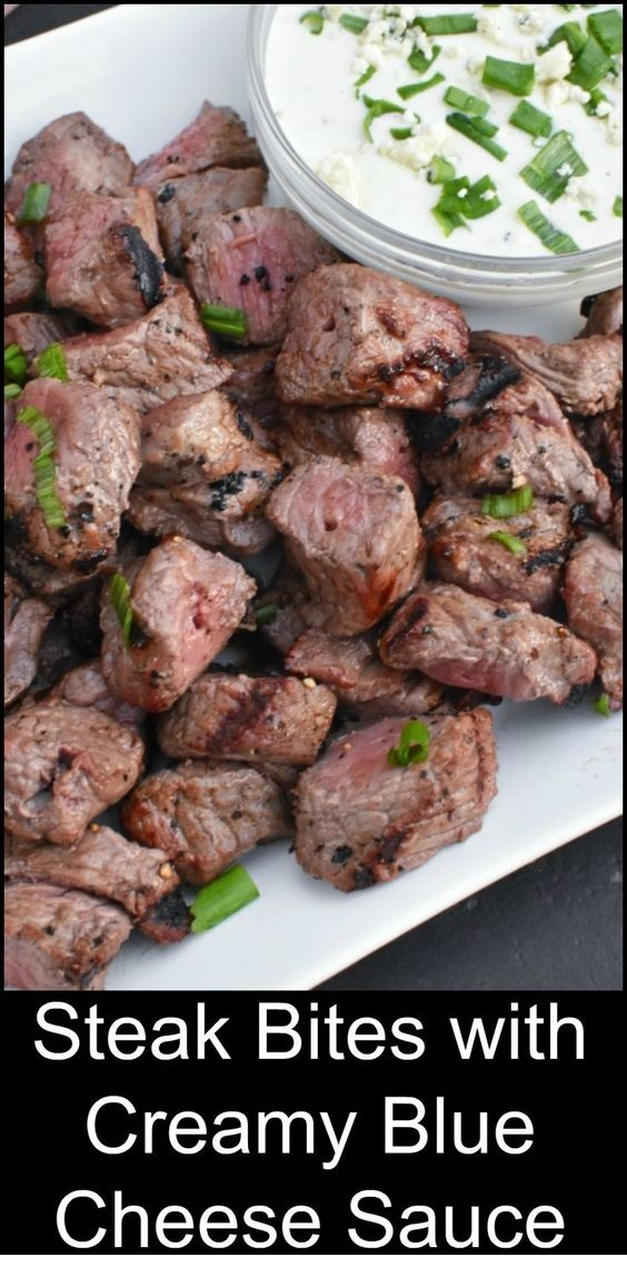 Steak Bites With Creamy Blue Cheese - Camp Food