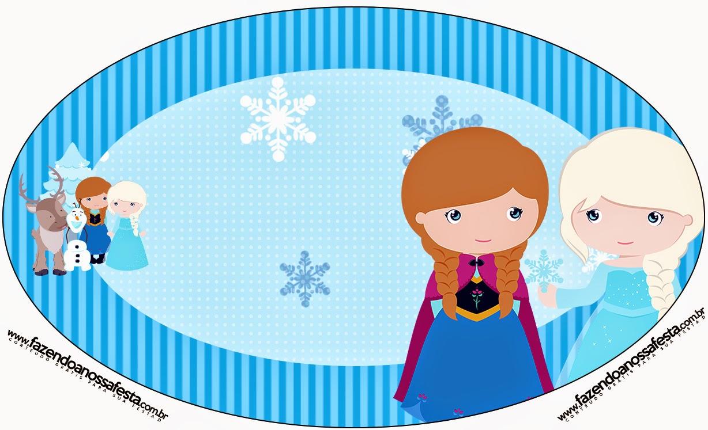 Toppers o Etiquetas de Frozen Niñas para Navidad Azul para imprimir gratis.