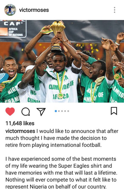 BREAKING: Victor Moses Retires From International Football - wittysports