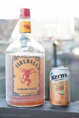 apricot balls cocktail, apricot nectar, fireball whisky, cinnamon whisky