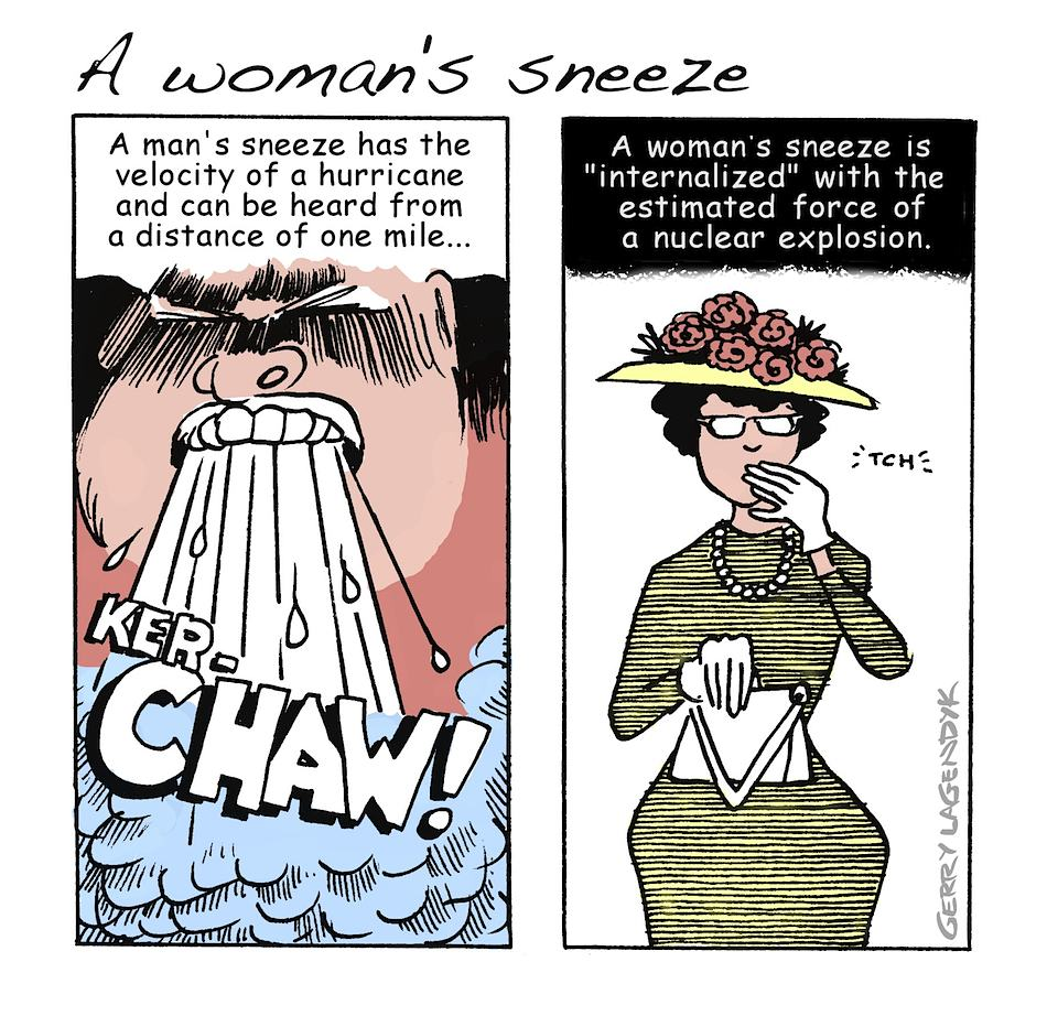 A woman's Sneeze, sneezing cartoon