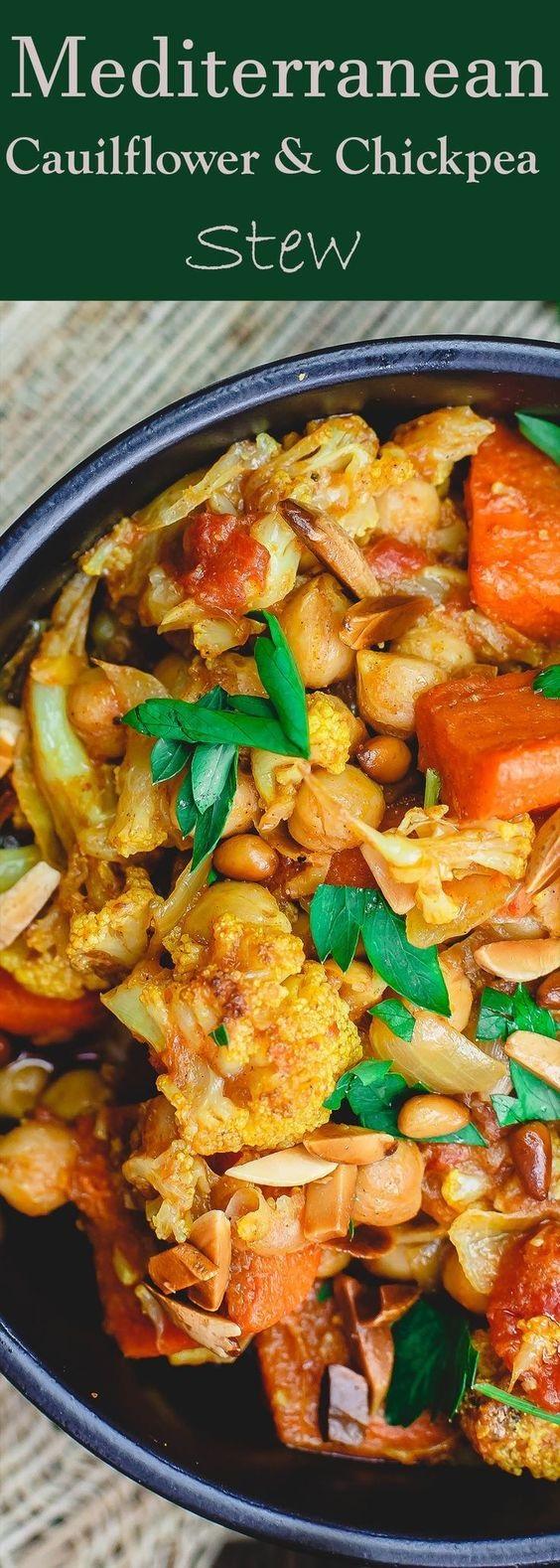Turmeric Roasted Cauliflower And Chickpea Stew